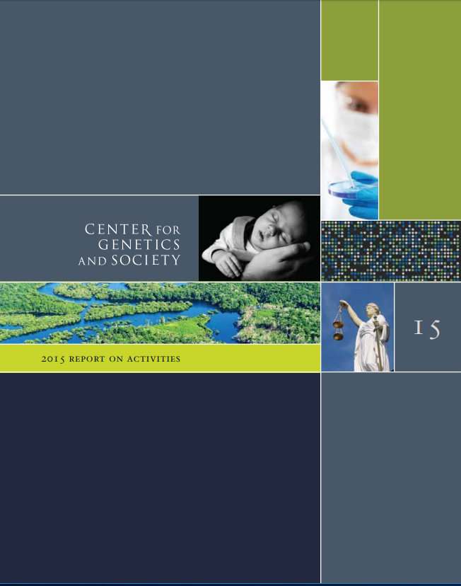 2015 Annual Report cover,featuring a grayscale photo of a baby resting, a landscape photo of greenery, a scientist with protective gear looking at a specimen, and Lady Justice.
