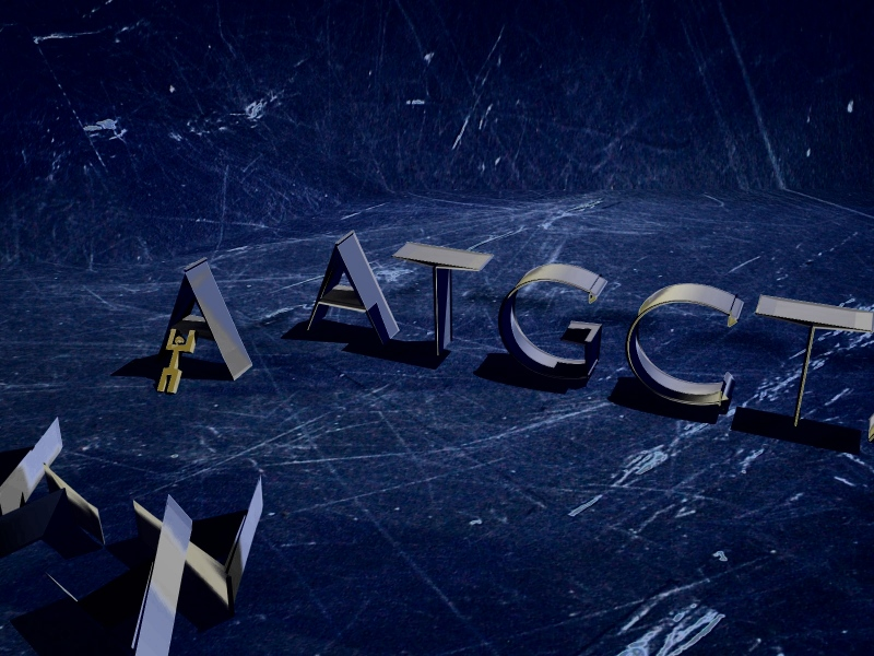 Block letters ATCG are positioned in a line, wtih one of the A letters in front, appearing to be erased.