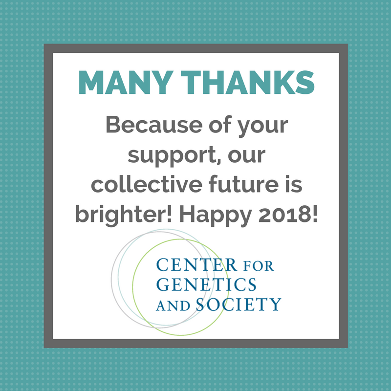 """Many Thanks"" is written in bold letters. Below, text reads: ""Because of your support, the future of our world is looking brighter! Happy 2018!"" The bottom displays CGS' logo with three overlapping circles."