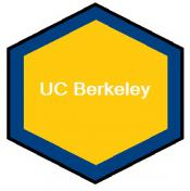 A hexagon filled with UC Berkeley colors surrounds the campus name.