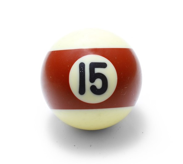 A pool ball with the number fifteen in black letters on a red band of color.