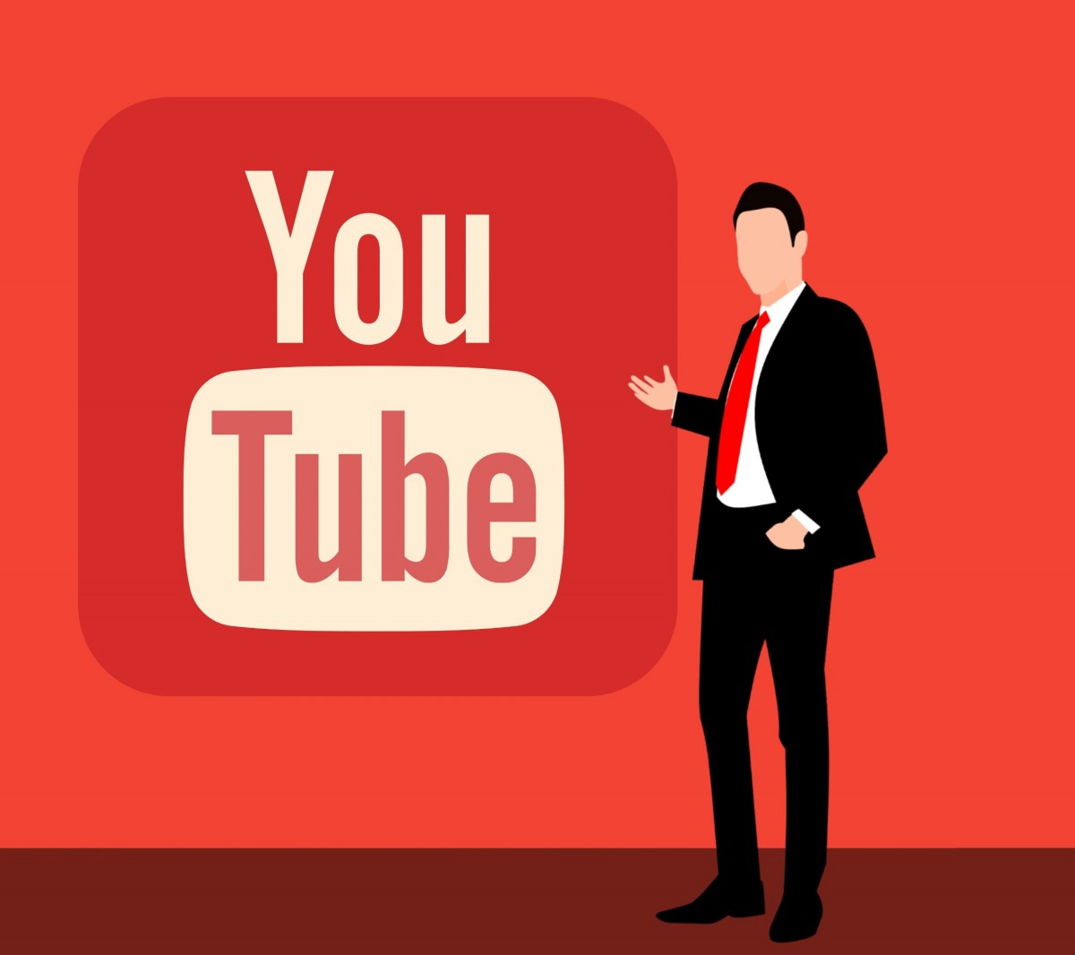 An illustration of a user video website with the graphic of a person with short hair in a suit standing beside.