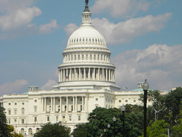 Picture of the white, domed, United States Capital building.