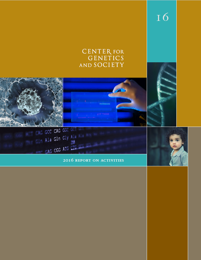 Cover of the 2016 report, featuring DNA strand, genomic profile, and a child.