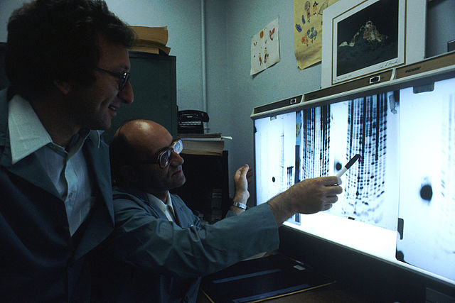 Two male scientists wearing lab coats in a laboratory looking at an illuminated board, reading the genetic code in the DNA.