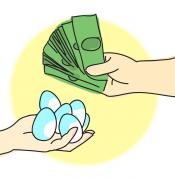 An illustration of two hands. One of the hands holds money, the other hand holds eggs.