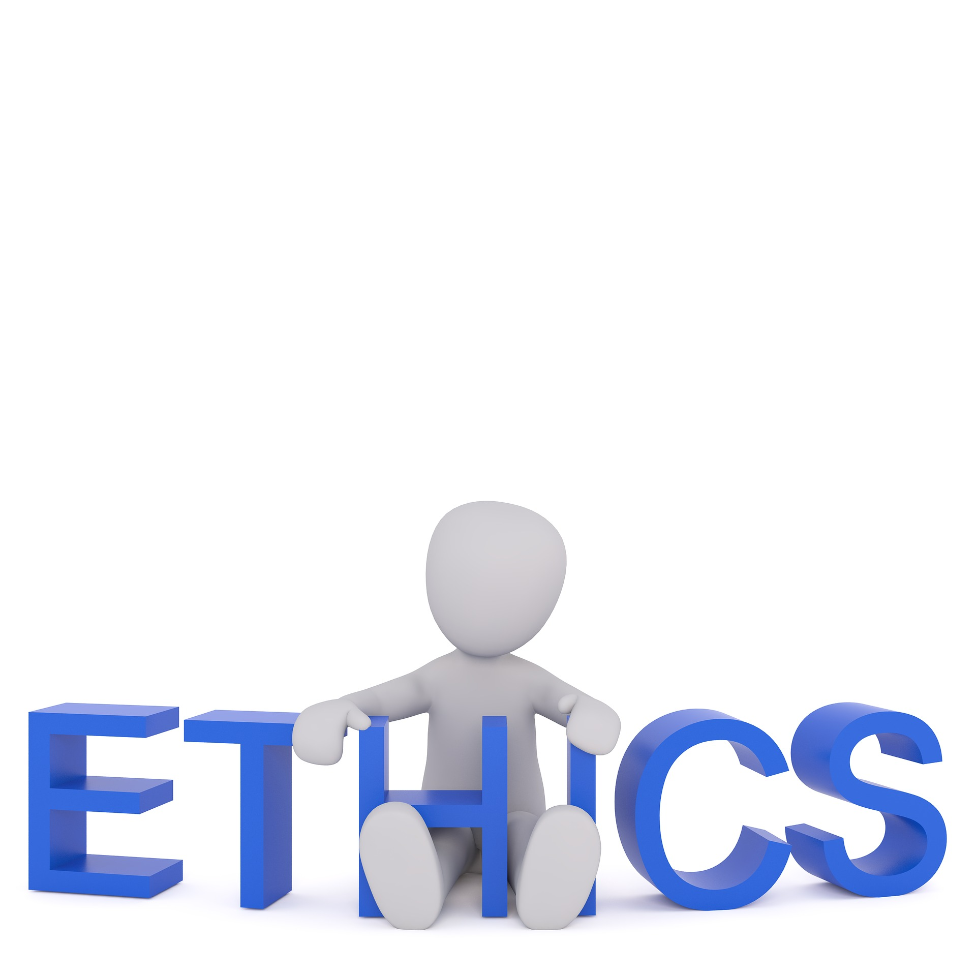 "A figure sitting down holding a sign that says ""Ethics""."