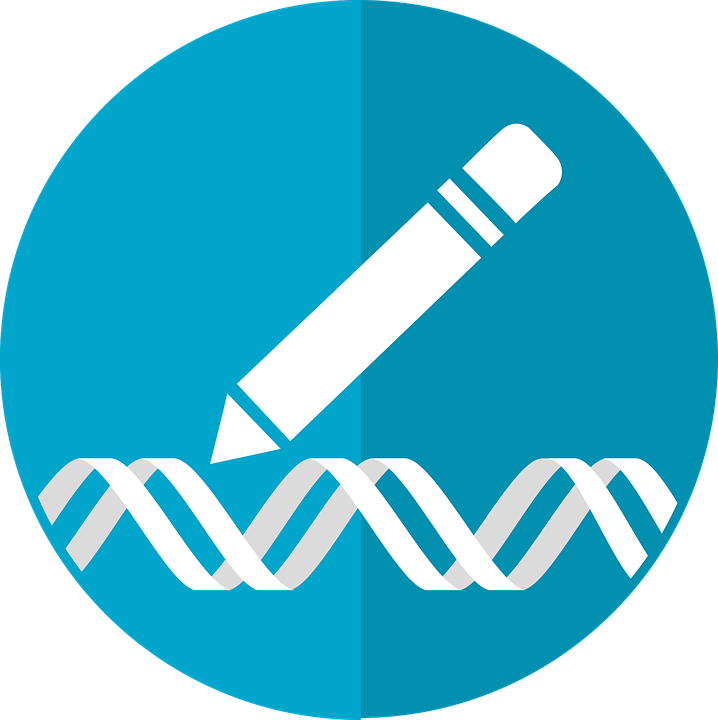 White pencil writing a double strand of DNA on a blue background