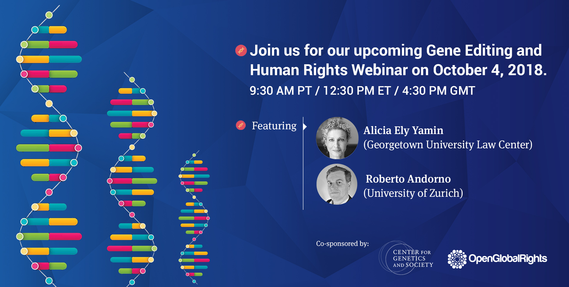 Gene Editing and Human Righrts Event poster