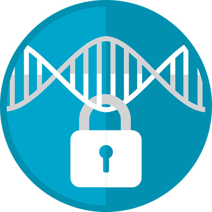 Padlock attached to a DNA strand on a blue background.