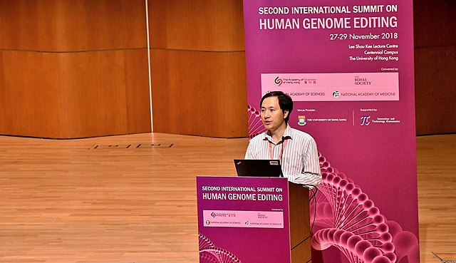 He Jiankui speaking at the the international genome editing summit in Hong Kong