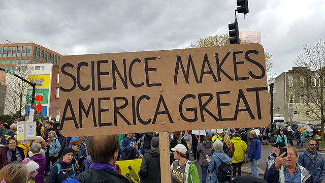 "Sign at the March for Science reads ""Science Makes America Great"""