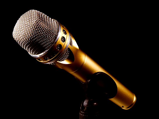 A microphone rests on a stand and is spotlighted, against a solid black background.