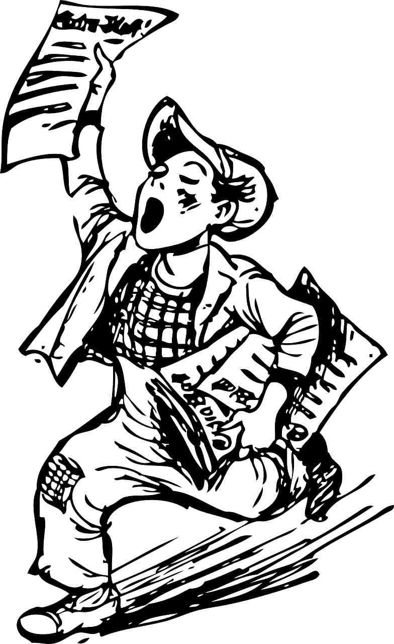 line drawing of a newsboy running with newspapers