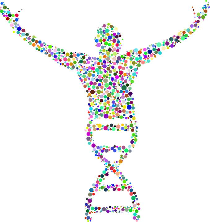 Person coming out of double helix DNA strand