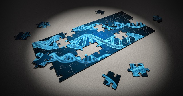 A partially completed jigsaw puzzle of light blue dna strands on a dark blue background