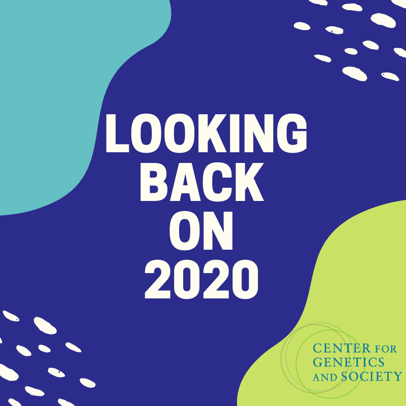 "Text reads ""Looking Back on 2020"" in white on a colorful abstract background"