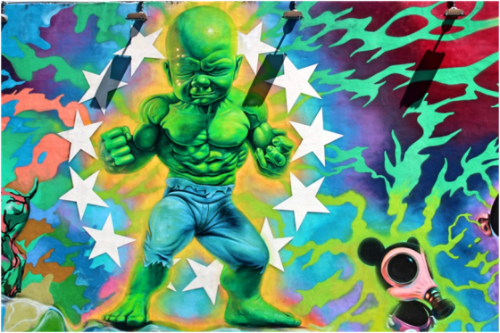 Ron English's Baby Hulk at the Wynwood Walls in Miami