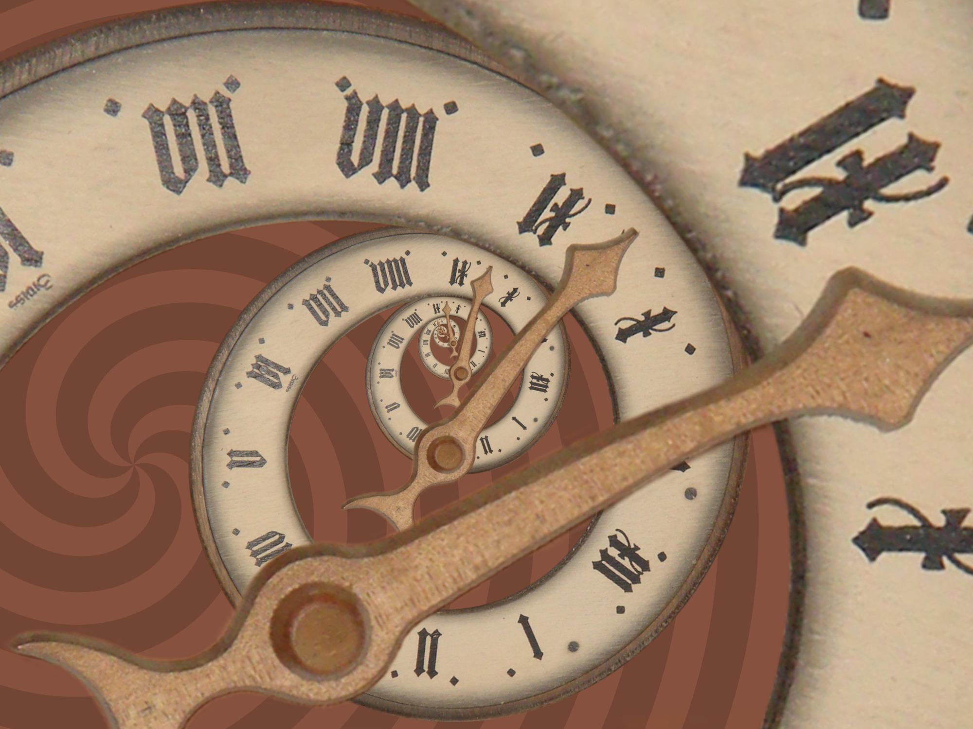 An illustration of a spiraling clock displaying roman numerals that circulate.
