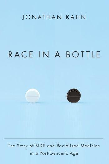 "Light blue book cover with the title ""Race in a Bottle"""