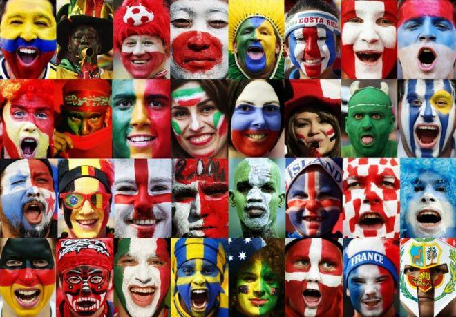 A collage of faces painted with the colors and patterns of various national flags