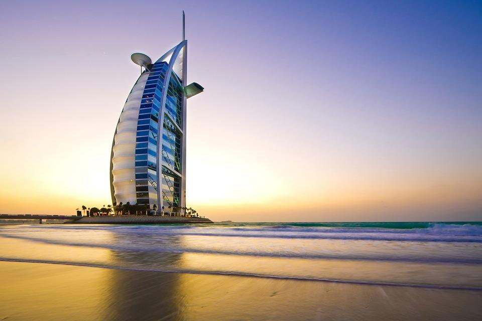 Burj Al Arab at sunset in Dubai, United Arab Emirates