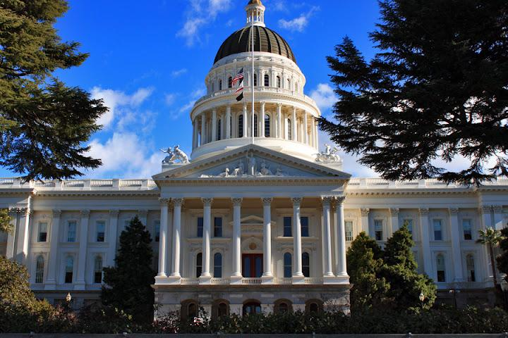 The front of the California State Capitol Building in Sacramento, California.