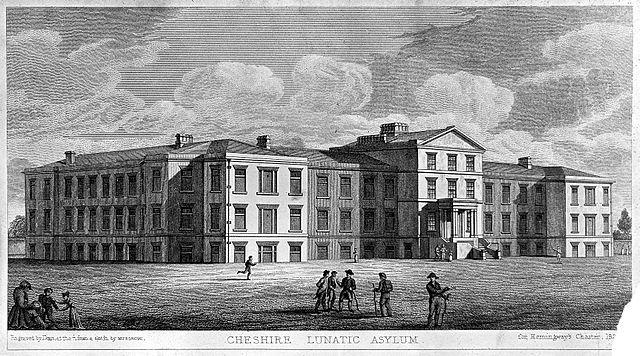A black and white print depicting the exterior of the Cheshire Lunatic Asylum.