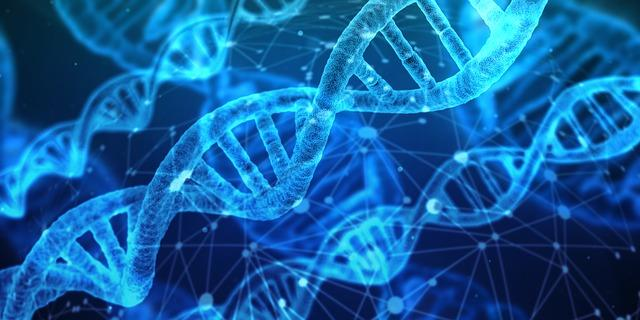 Blue stylized images of DNA