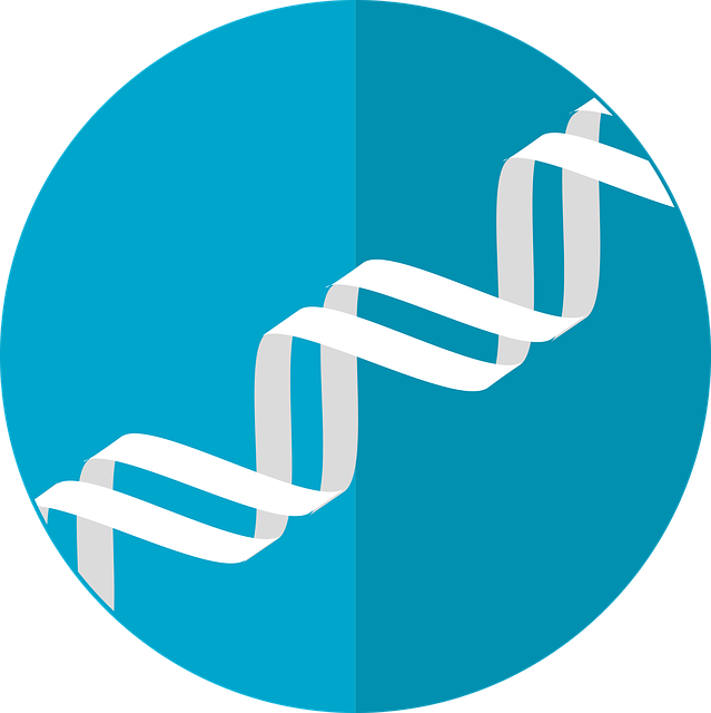 Icon of double helix in white against a circular background of blue