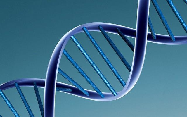 Blue double stranded DNA helix on light blue background