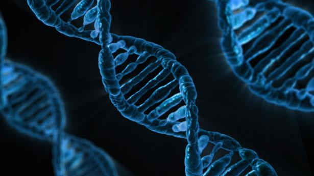 Blue double helix DNA on black background