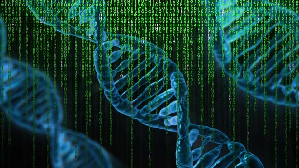 Blue DNA on black background with green vertical letters and numbers on top