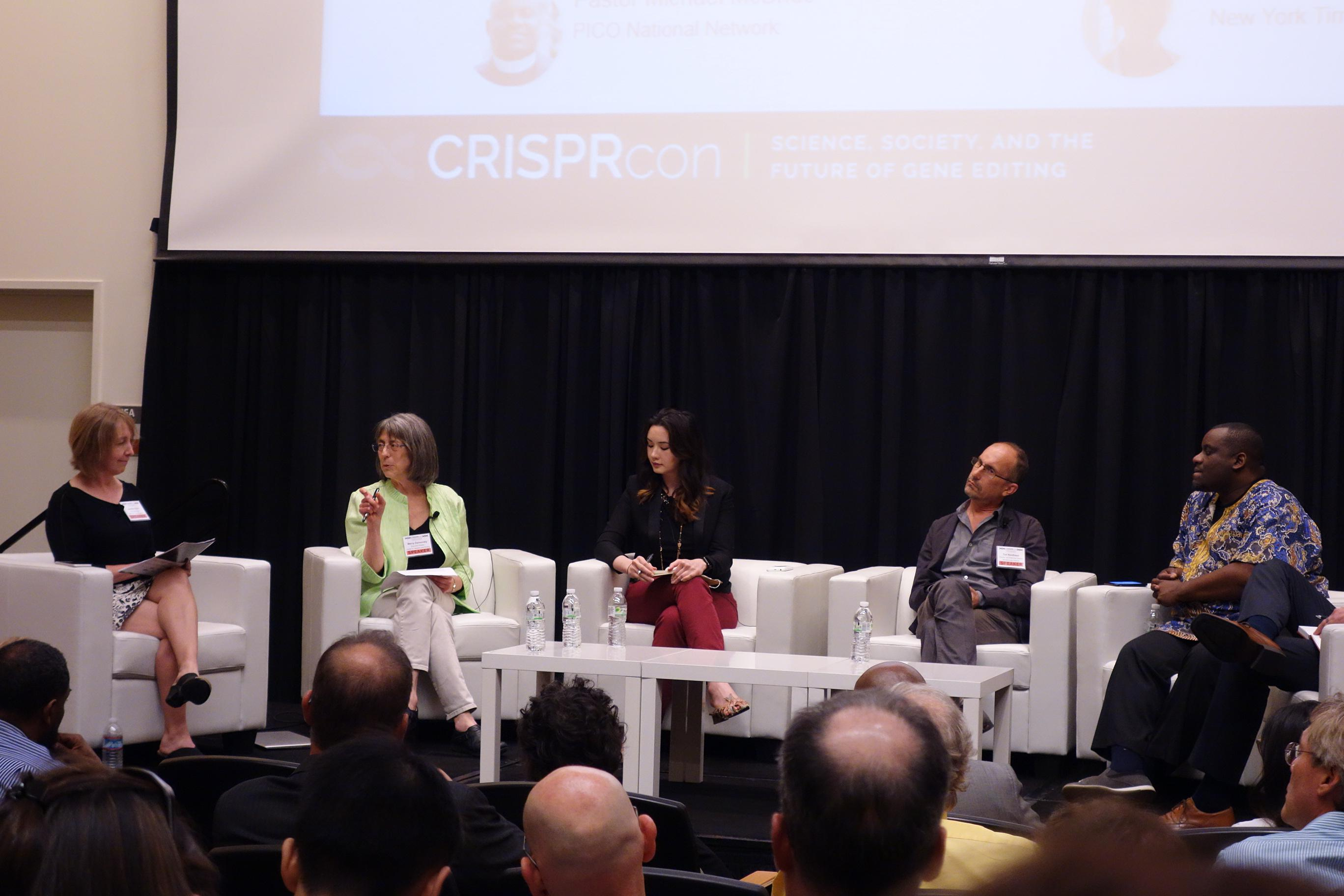 Marcy Darnovsky speaks among  panel at CRISPRcon