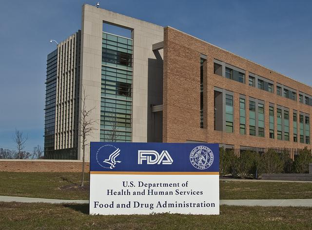 FDA building, sign in front has the logos of FDA, HHS, and US Public Health Service