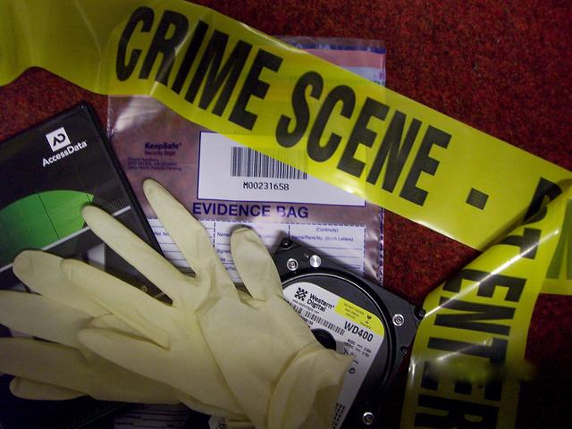 Forensic equipment, including crime scene tape, gloves, and evidence bag.