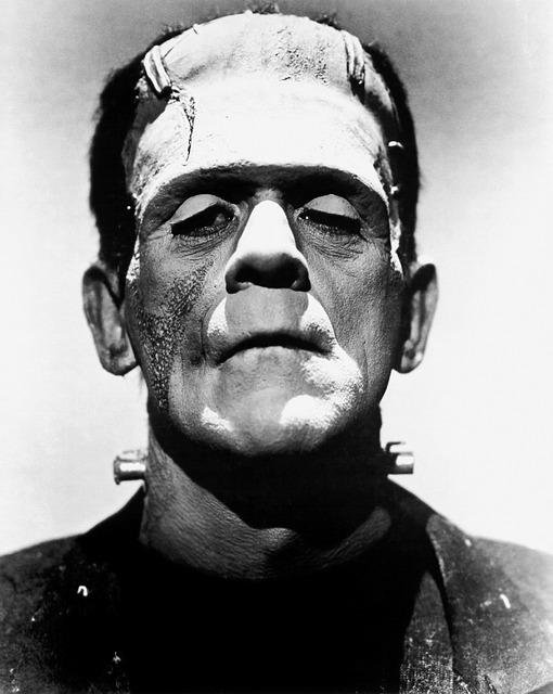 Gray scale image of a Frankenstein character.