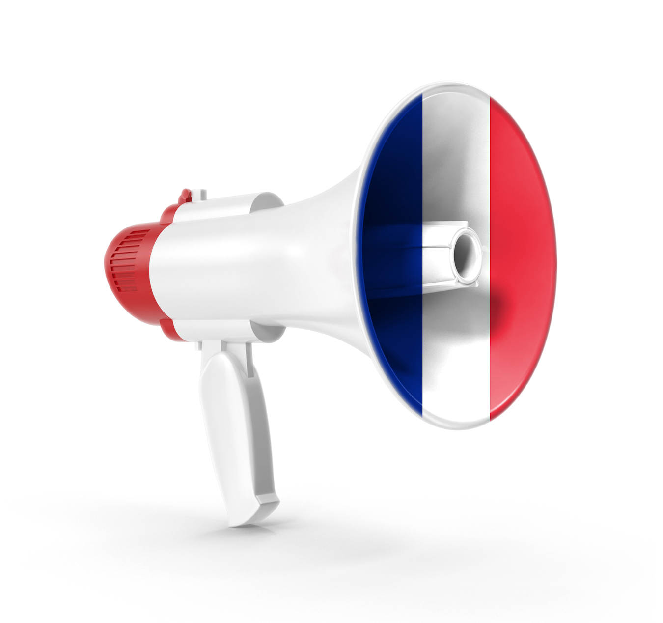 Megaphone in the colors of the French flag