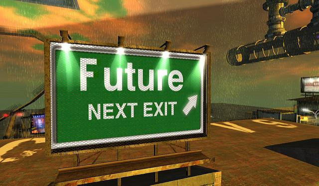 "In an illustration of a high-tech world, there is a directional green sign that states, ""Future next exit"" with a white arrow pointing."