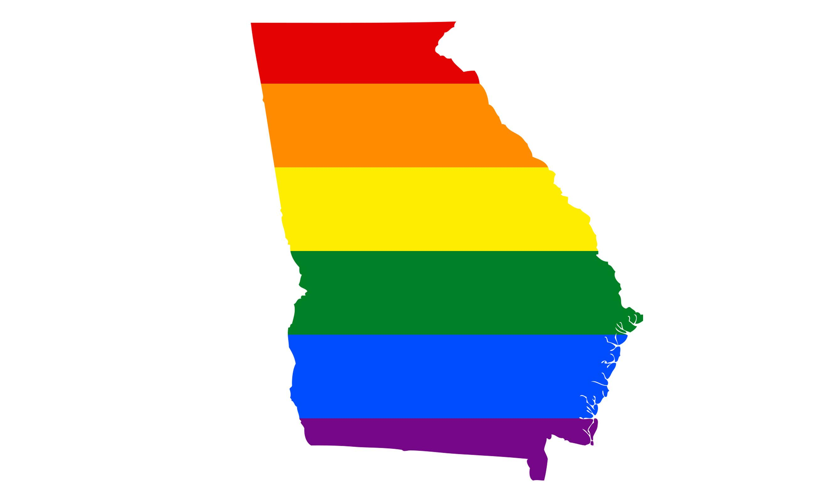 State of Georgia depicted in rainbow colors