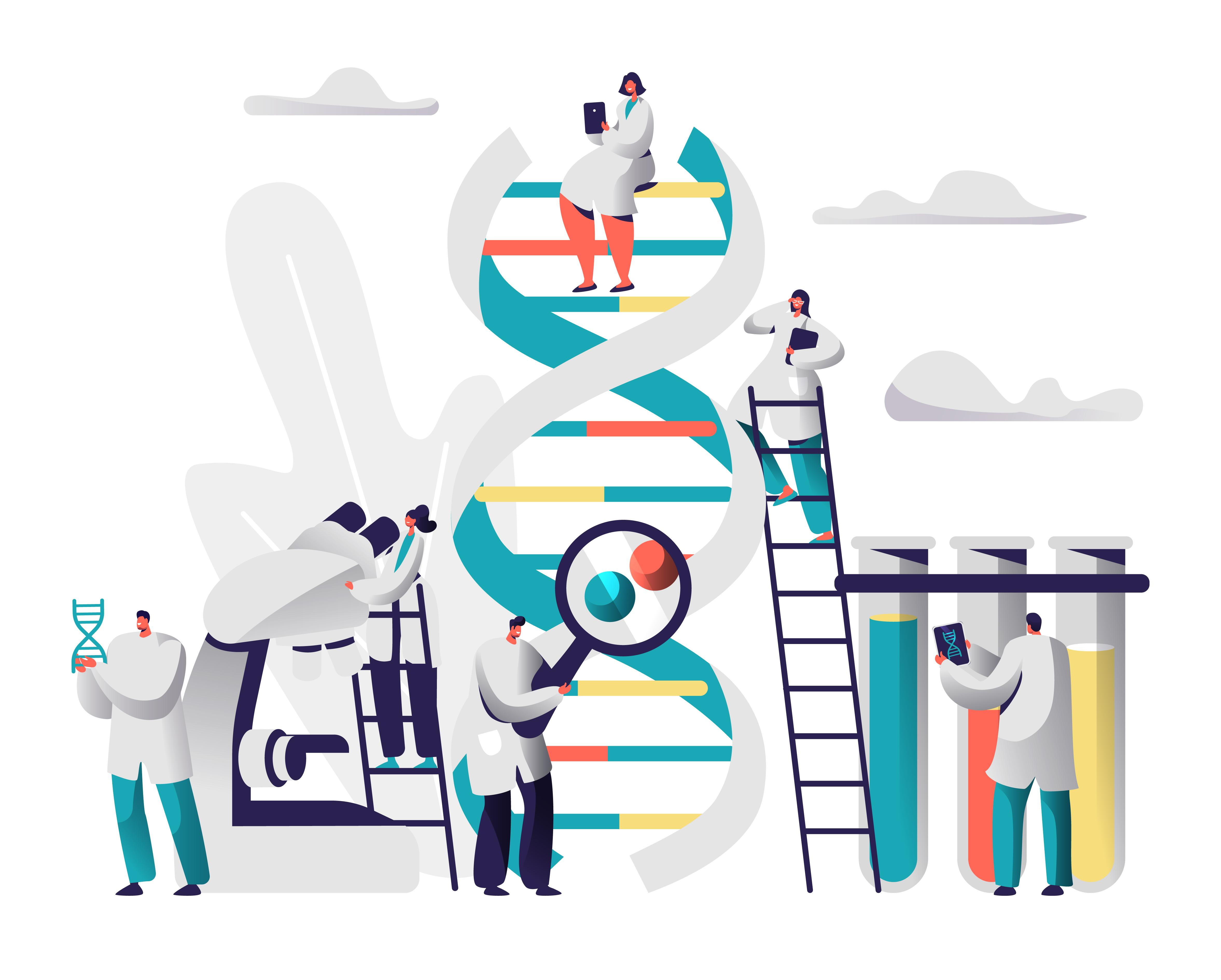 an illustration of scientists doing construction on a double helix