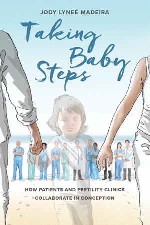 Illustration shows the translucent outline of a young child with brown hair and blue eyes holding the solid hands of a man and a woman. They are walking on the beach and a row of medical practitioners in scrubs stand behind them.