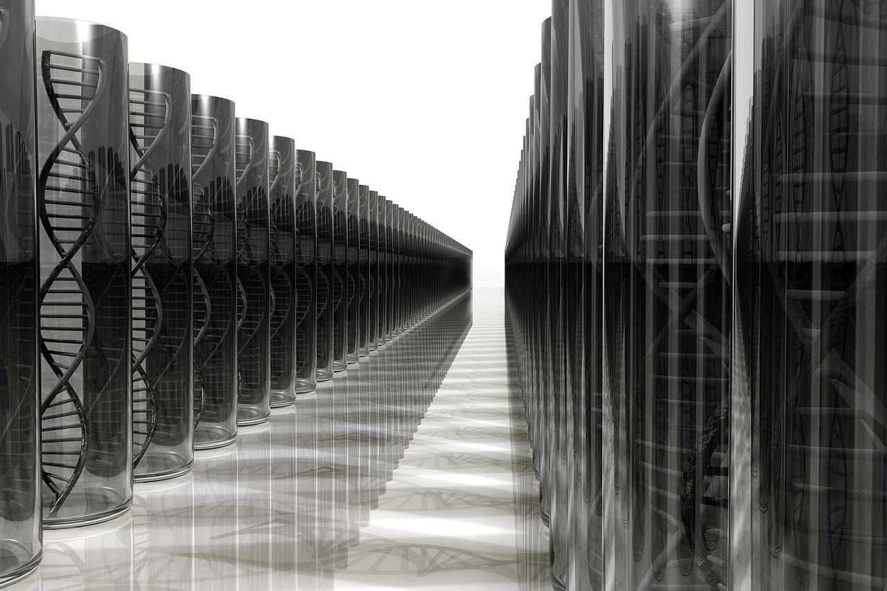 Black and white graphic displaying view down a long row of identical, clear cylinders each containing a double helix.