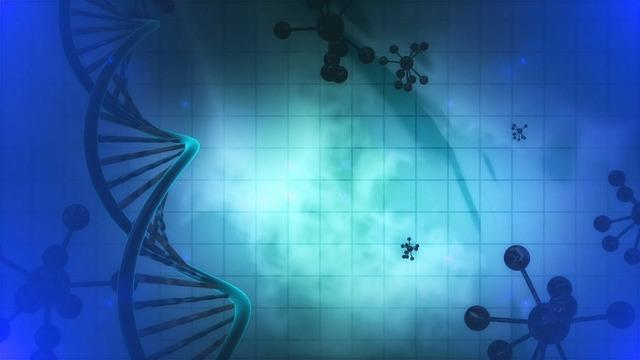 A DNA molecule is positioned toward the left. In the background, there are several floating molecules. The background is a gradient blue,
