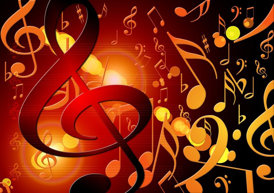Red and yellow musical symbols on red background