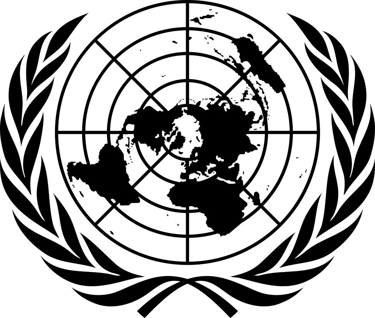 United Nations logo in black.
