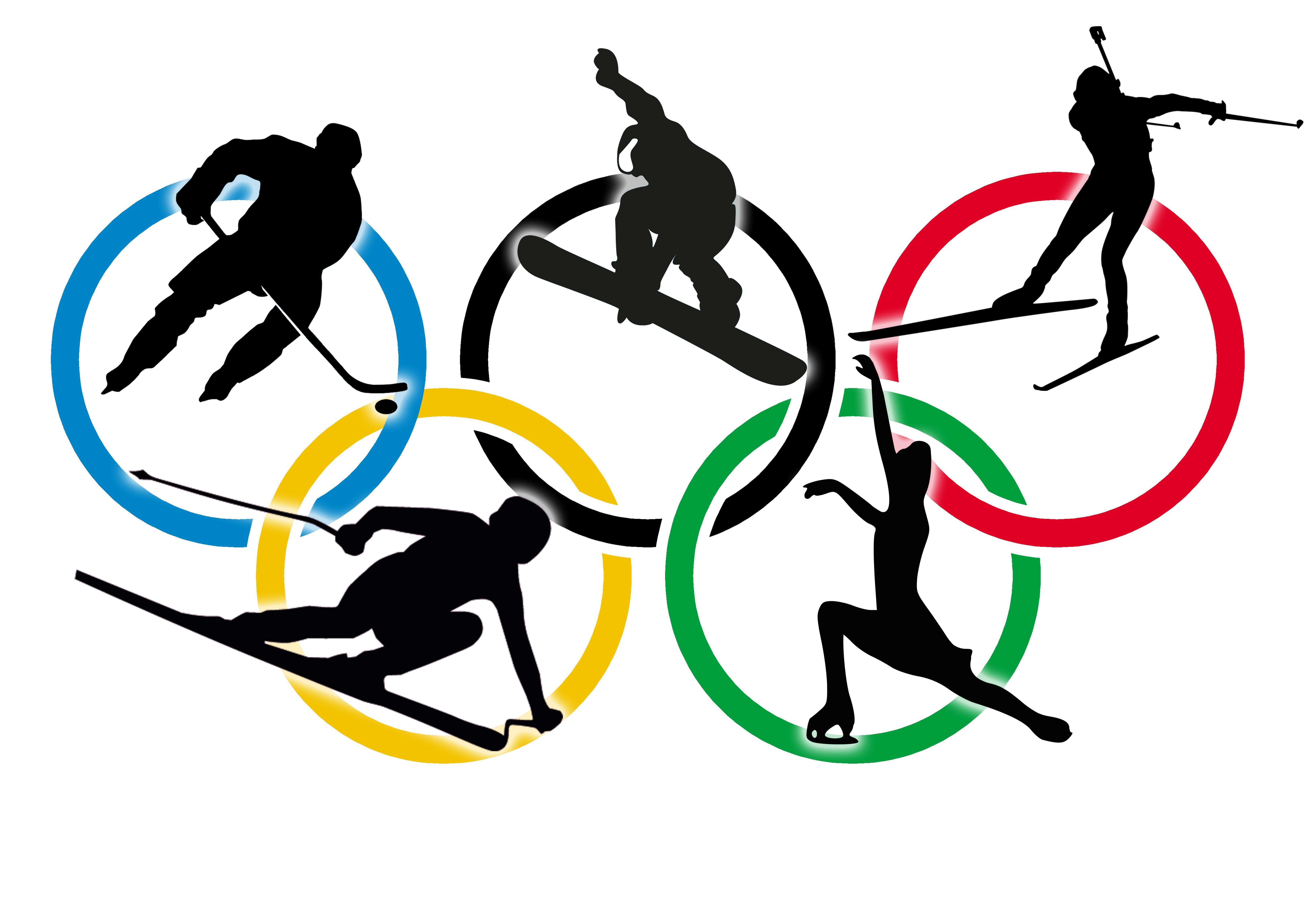Graphic of 5 Olympic rings, with shadow figures of athletes in each: hockey, snowboarding, ski jumping, downhill skiing, and figure skating