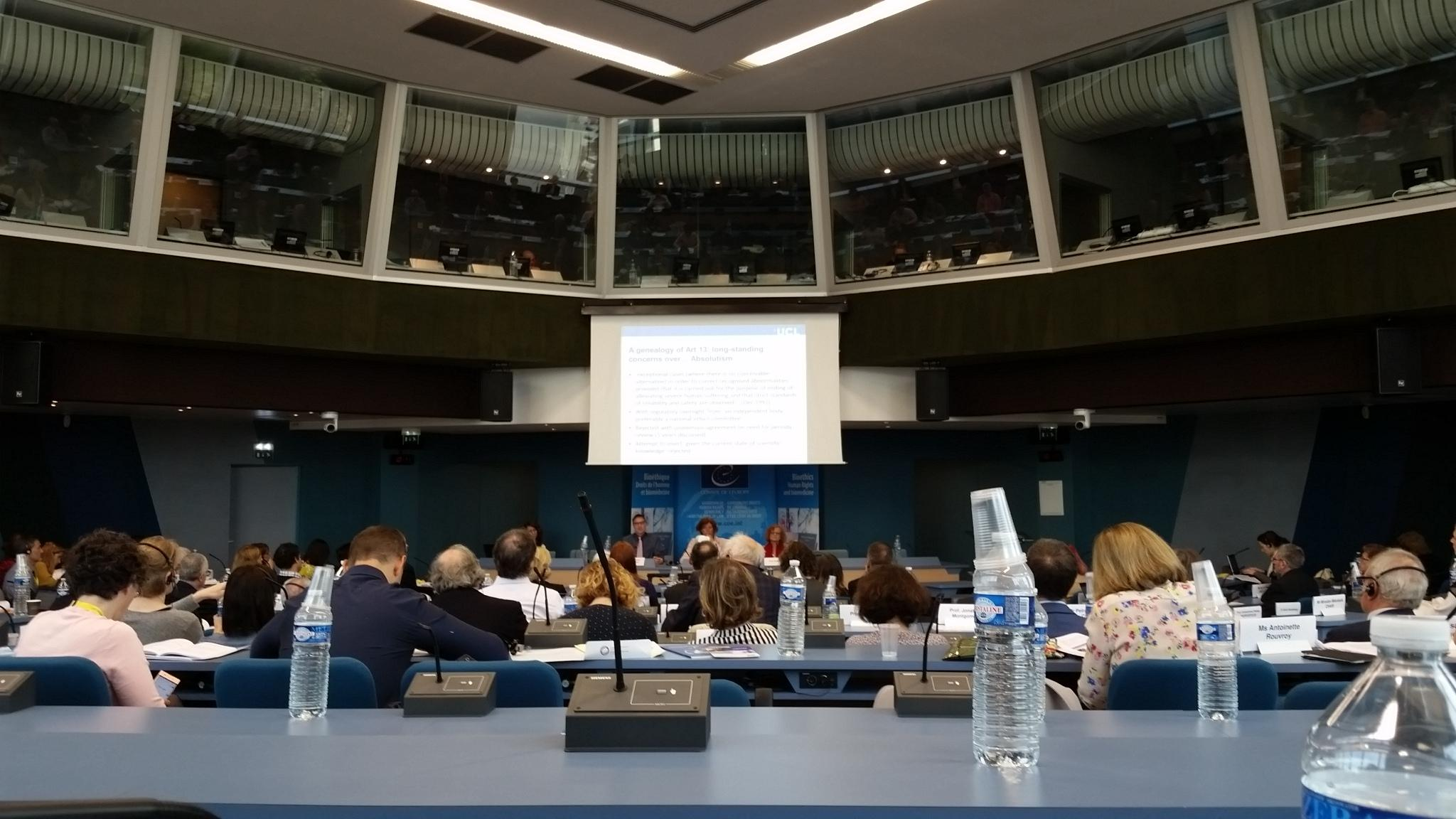 A conference room at the Council of Europe, looking towards a panel at the front