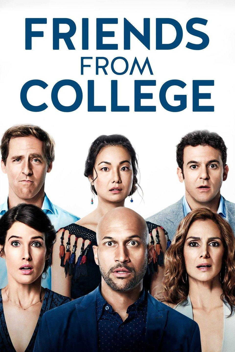"Image of ""Friends from College"" TV Show showing the six main characters in the series."