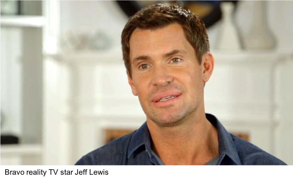 Close-up image of Bravo reality TV star Jeff Lewis while being interviewed.